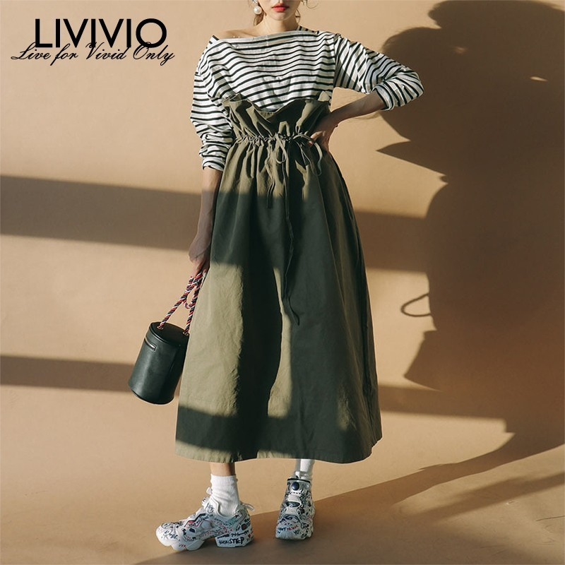 [LIVIVIO] Kawaii Bandage High Waist Pleated Ruffle Long Skirt Korean Women Clothes 2019 Summer Wrap Skirts Streetwear Korean New