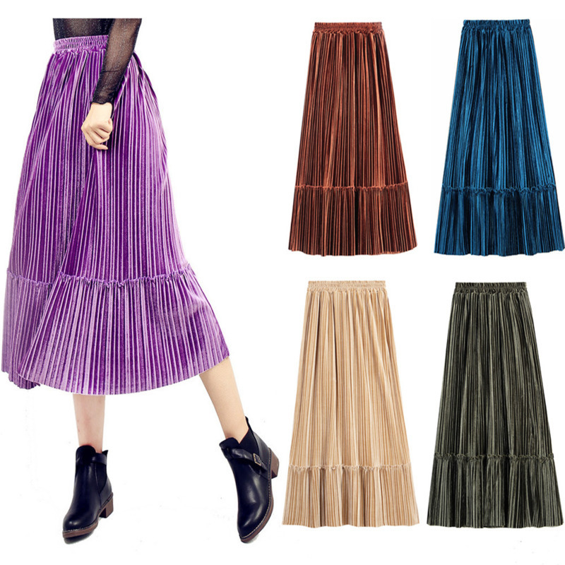 Autumn Winter Womens Elastic Mid-high Waist Pleuche Slim Fashion Skirt Women Sexy Large Pleated Mid-length Skirt Clothes