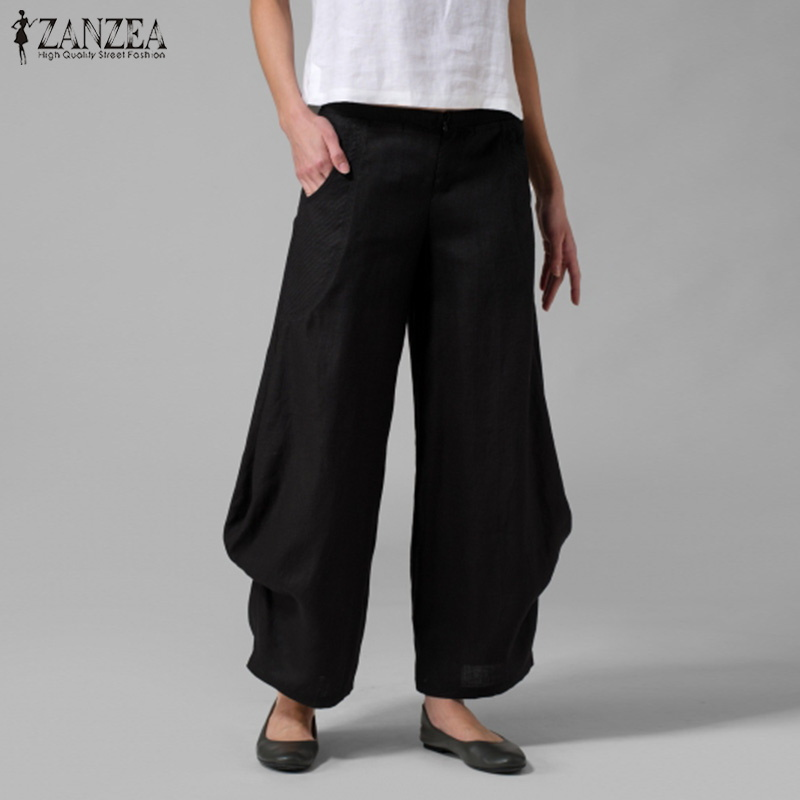 ZANZEA Women Casual Elastic Waist   Wide     Leg     Pants   Spring Ladies Work Pantalon Harem   Pants   Pockets Solid Ruffle Trousers Plus Size