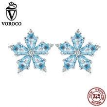 hot deal buy voroco 2019 women earrings 925 sterling silver tiny stud earrings blue flower earrings for women fine silver jewelry bke525