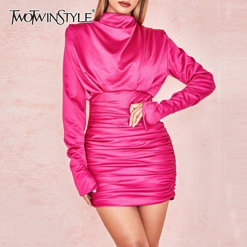 TWOTWINSTYLE Sexy Solid Women Dress Stand Long Sleeve High Waist Ruched Mini Party Dresses Female Spring