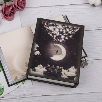 Originality Multicolor travelers Retro Notebook Moonlight Small Fresh Belt Lock Color Page agenda Diary book fresh 17g page 3