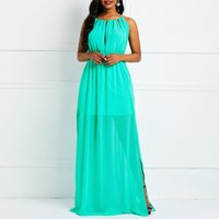 Women Chiffon Maxi Dress Elegant Prom Sexy See Through Summer Party Robe High Waist Ladies Lace Up Backless Holiday Long Dresses