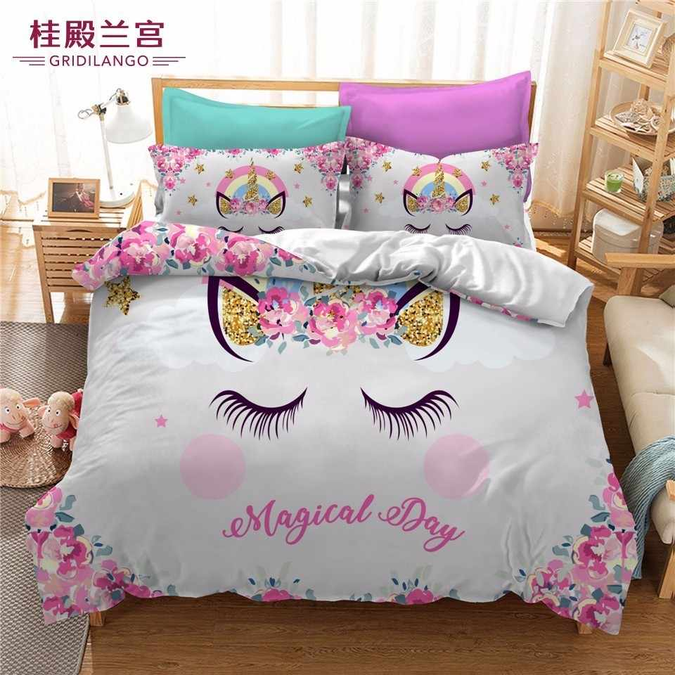 Golden Cartoon Unicorn Bedding Set With Flowers Cute Colorful Duvet Cover Pillow Case Kid Room For Birthday Gift Bedclothes 3PCS