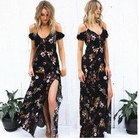 5529e8a886 Uguest Women Elegant Summer Maxi Long Dress V Neck Split Flower Party  Dresses Ceremonial Dress Ankle
