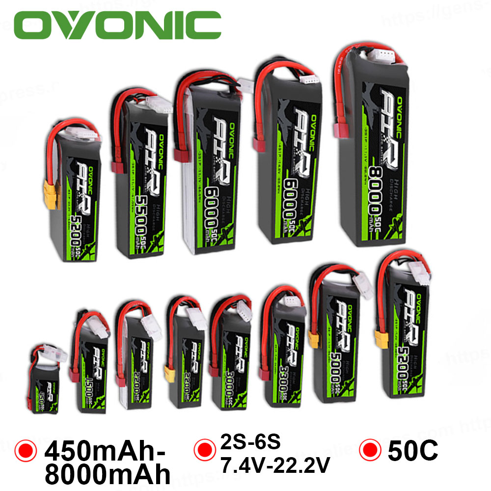 OVONIC <font><b>8000mAh</b></font> 4500mAh 5500mAh 3000mAh 2200mAh 1500mAh 50C 6S 4S <font><b>3S</b></font> 2S <font><b>Lipo</b></font> Battery for RC Heli Quad Aircraft Car Boat image