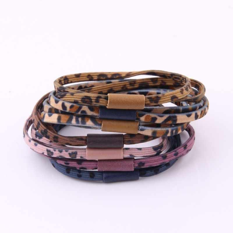 Newest Gum For Hair For Women High Elasticity Leopard Print Elastic Hair Bands Two-piece Hair Rope For Girls Flat Rubber Band