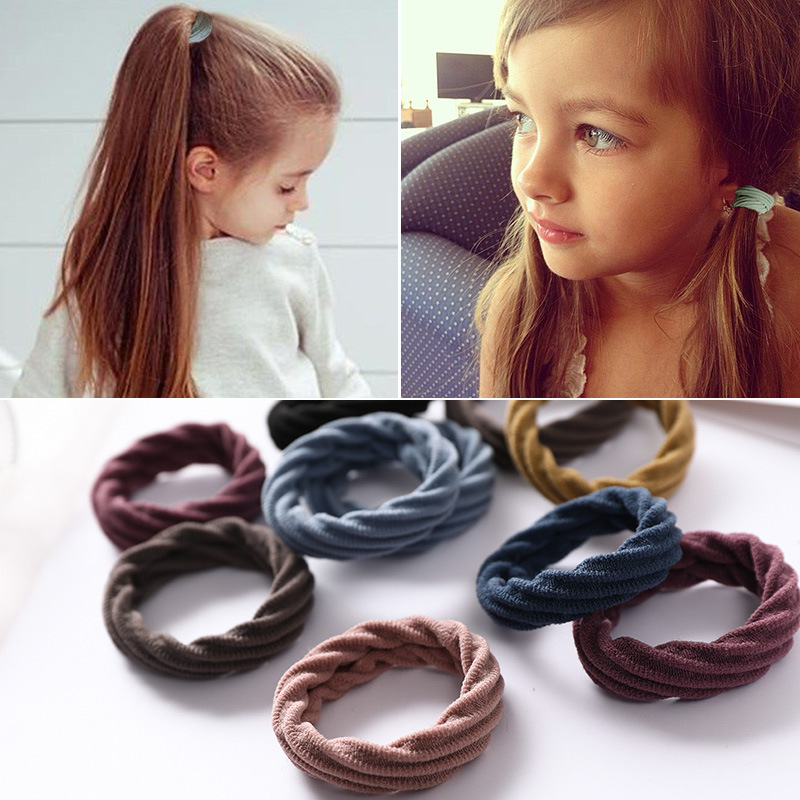 High Grade 10pcs/lot Elastic Hair Bands Seamless Fabric Hair Bands Hair Accessories Girl Diameter 5.5cm(China)