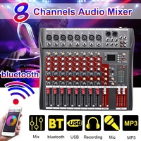 Professional 8 Channel Audio Mixer DJ Sound with bluetooth Record Live Studio Mixing Console Karaoke 48V Phantom Power USB Jack