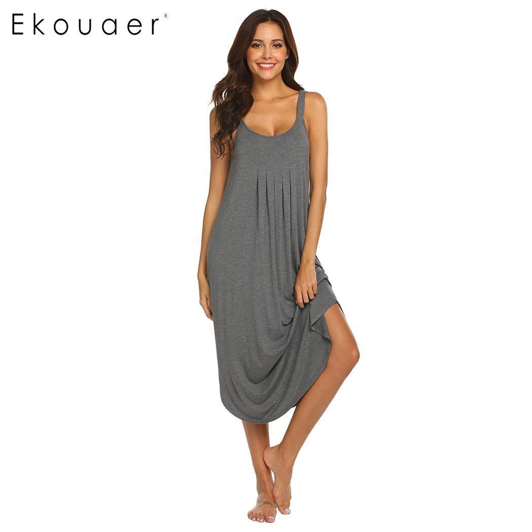 Ekouaer Sexy Lingerie Nightdress Women Nightgown Sleepwear Dress Sleeveless Spaghetti Strap Solid Nightwear Sleepshirts