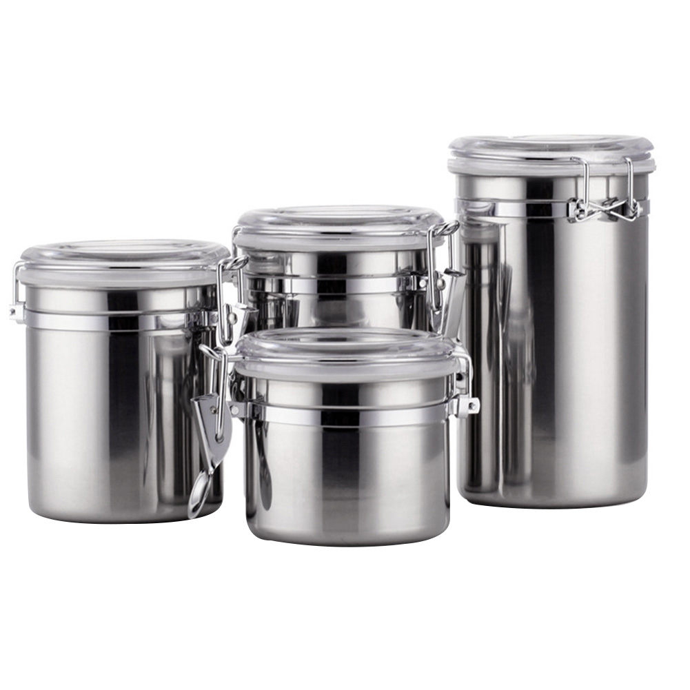 US $19.92 7% OFF|4PCS/Set Coffee Portable Stainless Steel Container  Organizer Tea Clear Lids Storage Canisters Kitchen Utensil With Airtight  Lids-in ...