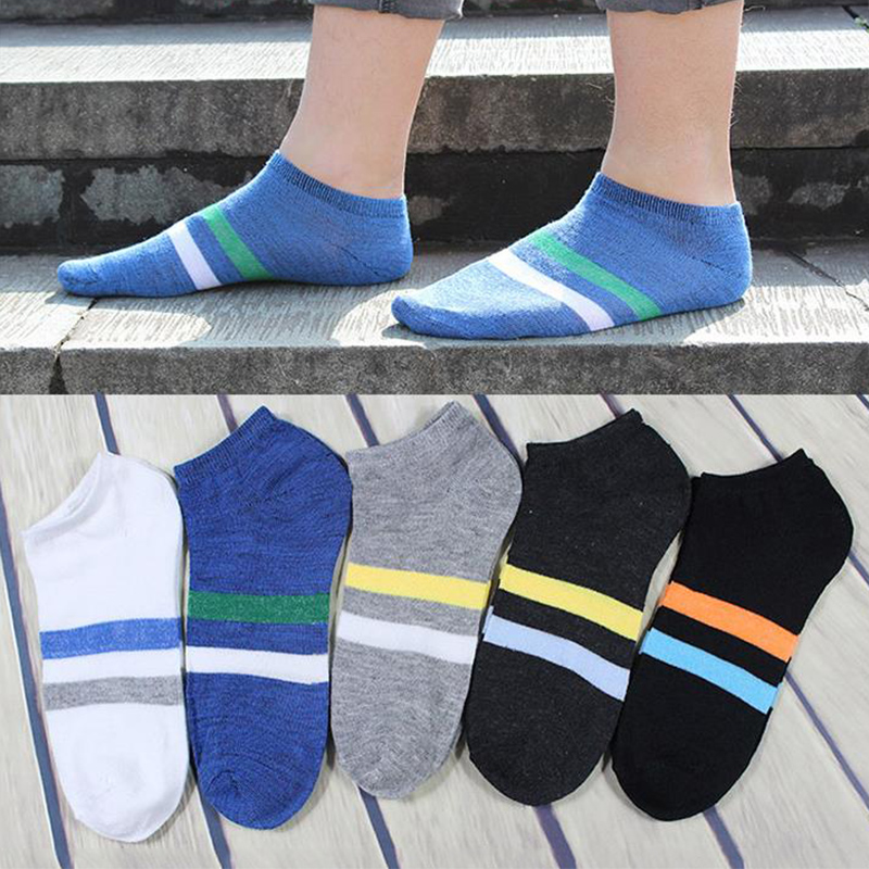 Casual Sports Soft Short New Hot Breathable Ankle Sock Men Socks Cotton Striped 1Pair Thin 5Colors