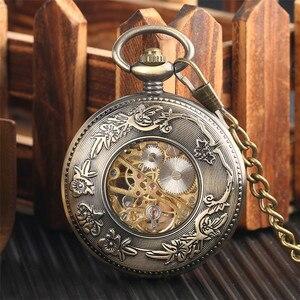 Image 4 - Conception en bois de luxe montre de poche mécanique Vintage exquis pendentif montre creux main remontage montre cadeaux chaîne en Bronze avec