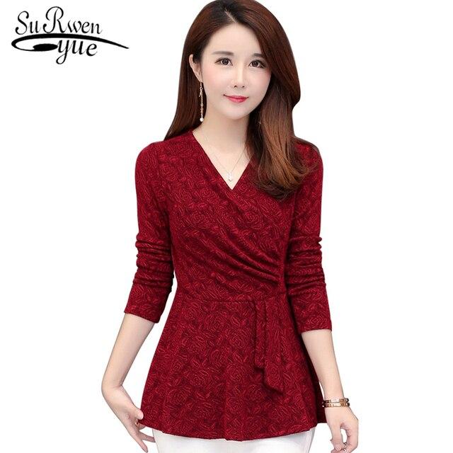 3XL 4XL 5XL plus size women tops Fashion woman blouses 2019 long sleeve sexy V collar women blouse shirt clothes blusas 1541 45