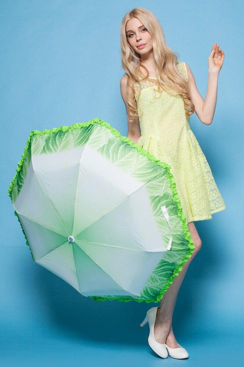 Hirigin Funny Three Fold Vegetable Umbrella Sunny Rain Travel Parasol Super Light Portable Fashion Street 3D Funny Sun Umbrella