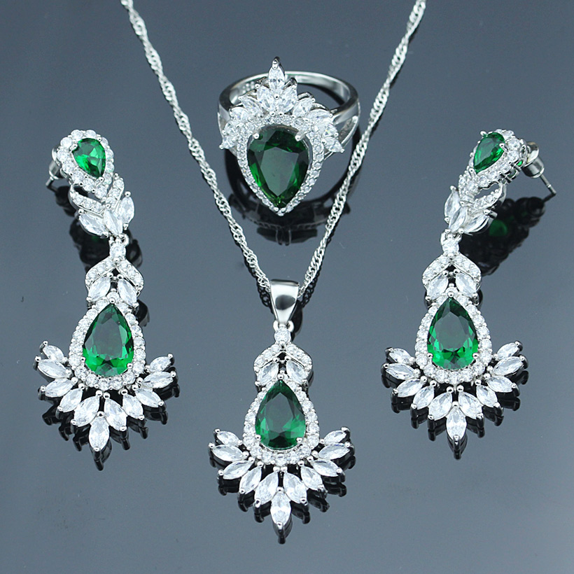 Bridal Jewelry Sets Responsible Cross-border Explosion Silver Color Jewelry Sets For Women Green Necklace/drop Earrings/ring/pendant Fashion Jewelry