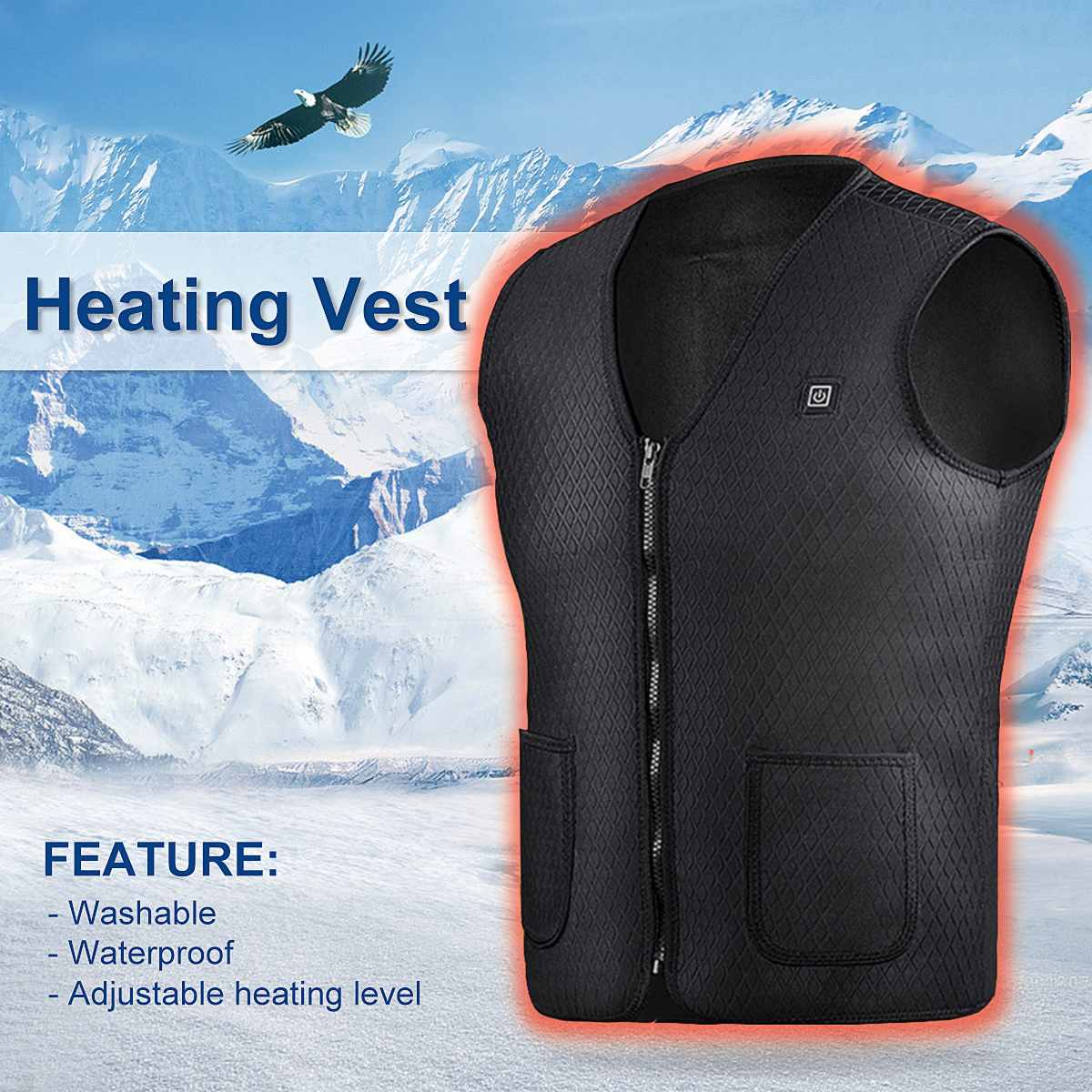 Black/Green Washable Electric Heated Vest Adjustable USB Charging Heating Jecket Coats Cloth Heating Clothing Winter Warm large size autumn and winter men s stand collar heating cotton vest graphene electric vest adjustable usb charging heated cloth
