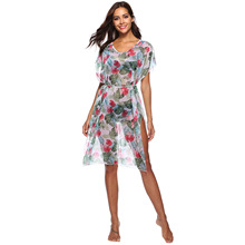 V-neck tie-up beach blouse dress summer loose knee dresses shredded flower loose sexy leg open styleish fashion cover ups