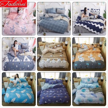100% Wash Cotton Adult Kids Soft 3/4 Pcs Bedding Set Single Twin Full Queen King Size Duvet Cover Bedspreads 150x200 Bedclothes