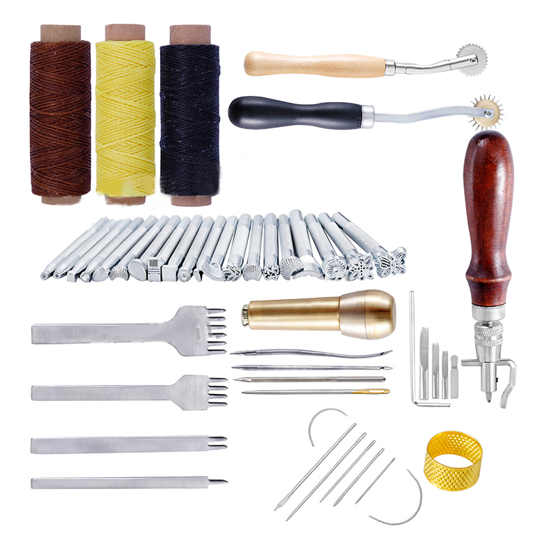 48 pcs/set Leather Craft Tools Kit Stitching Carving Working Sewing Saddle Groover Leather Processing Tool Set Sewing Supplies48 pcs/set Leather Craft Tools Kit Stitching Carving Working Sewing Saddle Groover Leather Processing Tool Set Sewing Supplies