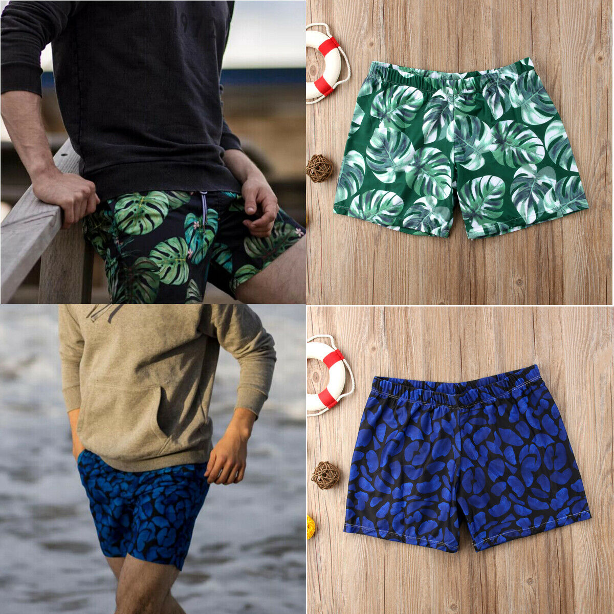Fashion Summer Men Boy  Casual Print Swimming Board Trunks Swim Surfer Shorts Swimwear Beachwear