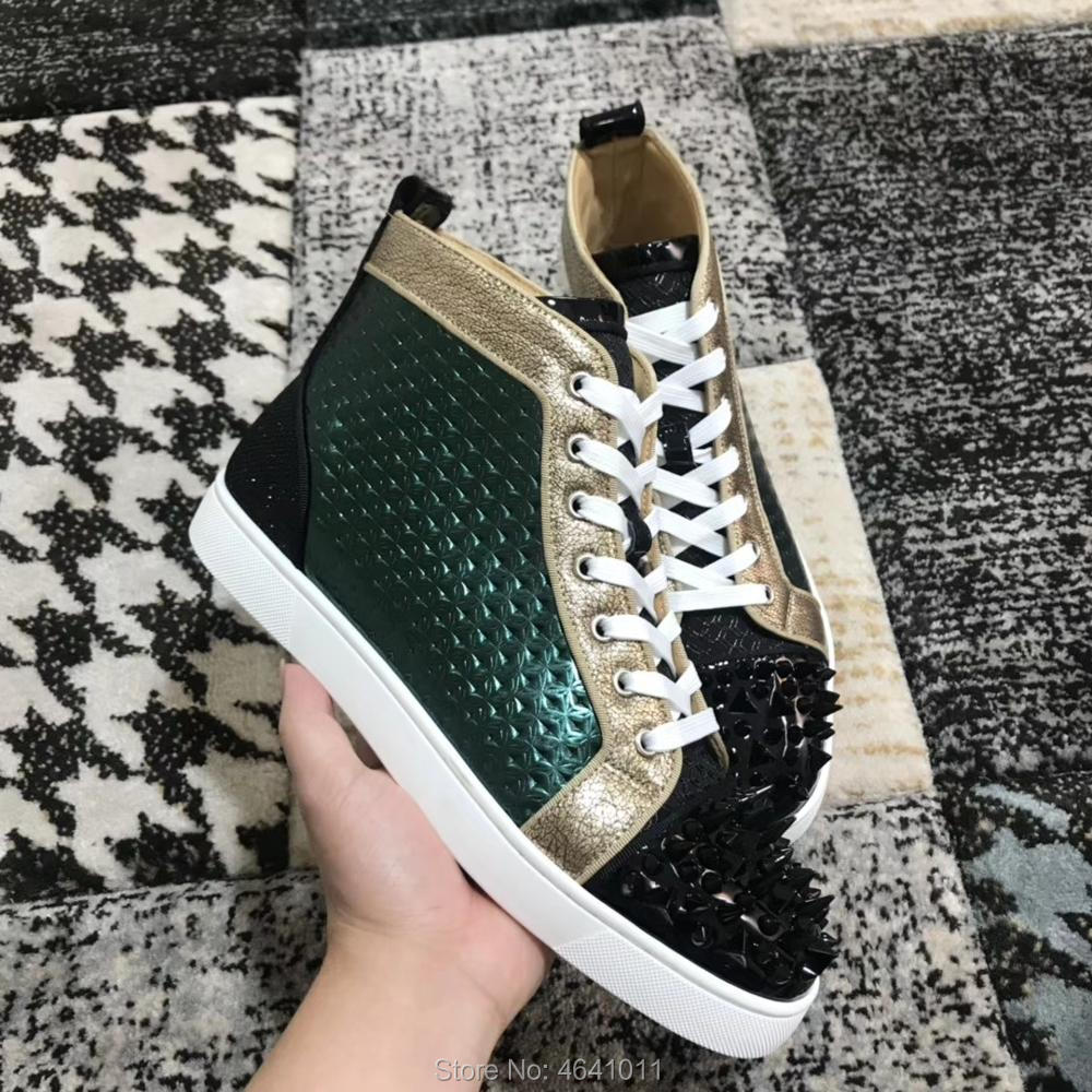 High Cut cl andgz Multiple tones of patent leather red bottoms shoes Lace up For Men Green Rivet casual Sneakers Flat Loafers-in Men's Casual Shoes from Shoes    1