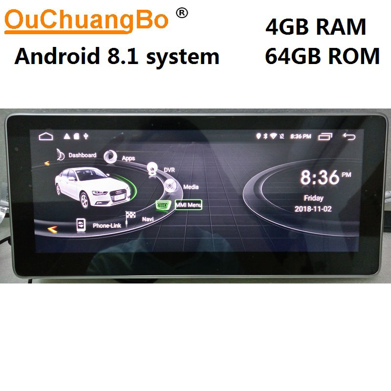 Ouchuangbo 10 25 inch Android 8 1 car radio recorder for A6 2005 2012 with gps