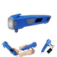 XANES 3 in 1 U23 USB Rechargeable Hand Crank LED Flashlight Safty Hammer Power Bank LED Flashlights Hand generation Lighting