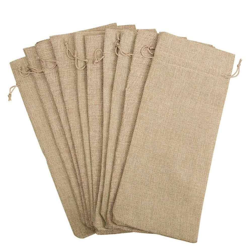 Hot-10pcs Jute Wine Bags, 14 x 6 1/4 inches Hessian Wine Bottle Gift Bags with Drawstring