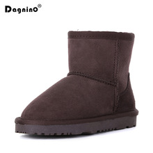 цены New Winter Sheepskin Kids Snow Boots Warmful Real Natural Fur Australia Children Genuine Leather Boots Boy Girl Wool Boots Shoes