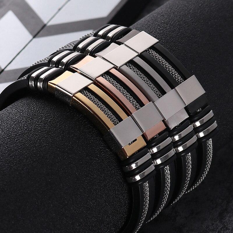 2019 Großhandel Neue Stil Europäischen Und Amerikanischen Silikon Titan Stahl Armband Verkauf Wie Heiße Kuchen Männer Schmuck Einstellen