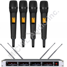 MiCWL SKM9000 True Diversity 4 Black Wireless Stage Song Microphone System large areas Champagne Gold Limited Edition