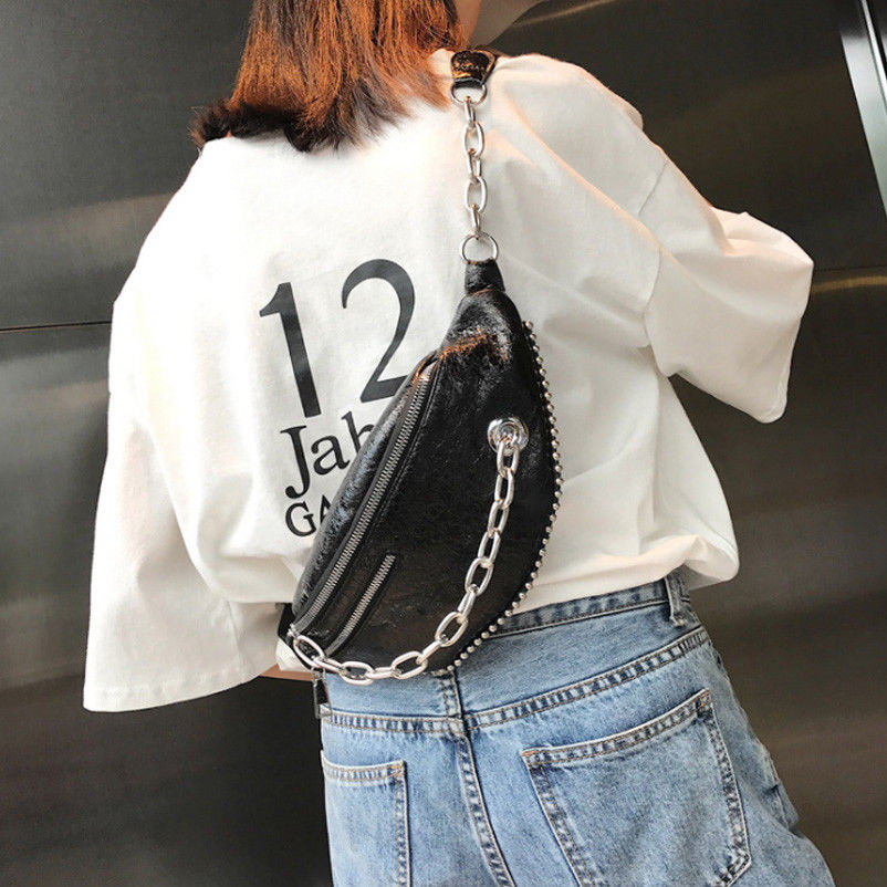 2018 New Style Fashion Bum Bag Fanny Pack Pouch Travel Festival Waist Belt PU Leather Holiday Money Waist Packs