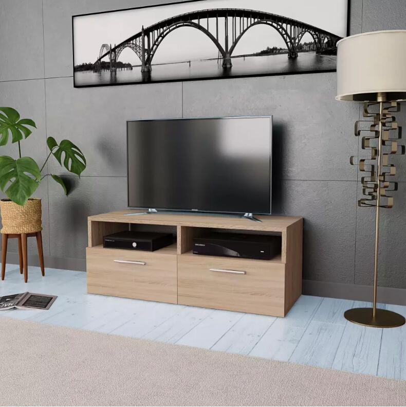 VidaXL Oak TV Cabinet Chipboard With 2 Shelves 2 Cabinets Living Room Table Home Furniture Modern Wooden Panel TV Stand