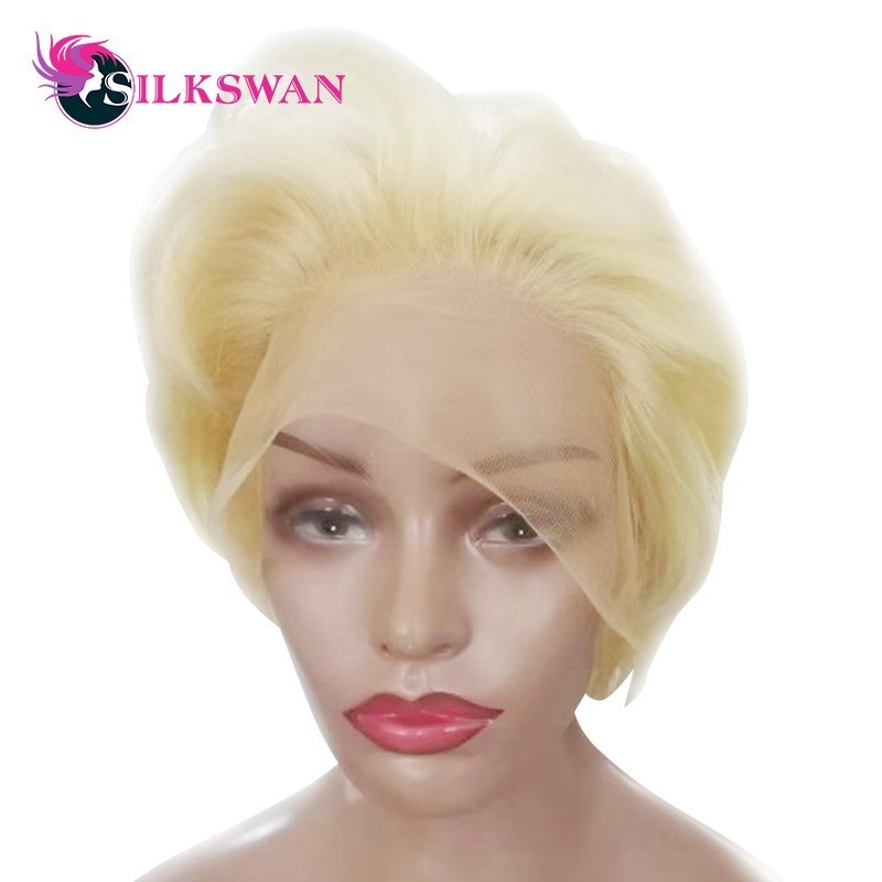 Silkswan Short Pixie Cut Wigs Human Remy Hair Wigs 150 Density 613 color For Woman Natural