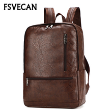 Laptop Leather Backpack Men 15.6 Anti theft Waterproof Travel Casual School Backpack College Mochila masculina Bagpack Male 2019