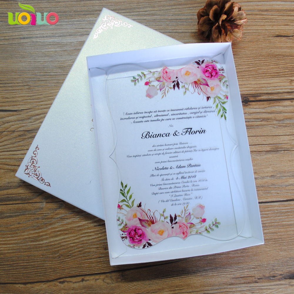 Us 16 9 2019 Hot Sale Custom Printing Clear Acrylic Card Wedding Invitation Card Ribbon And Logo On The Box Need Extra Cost In Cards Invitations