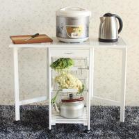 Portable Folding Kitchen Rolling Tile Top Drop Leaf Storage Trolley Cart White Multifunction Folding Dining Table Storage Box
