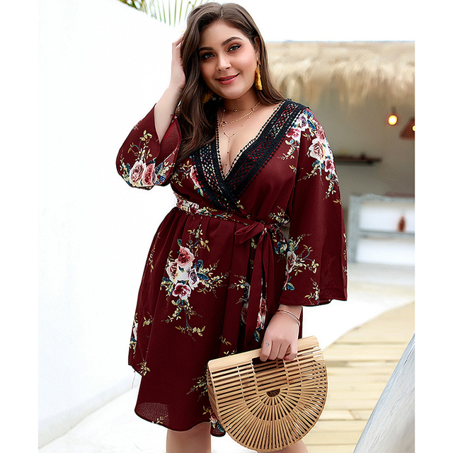 Europe And America Summer New Women'S Printed Short Sleeved V-Neck Dresses Female'S Casual Plus Size Dresses With Belt