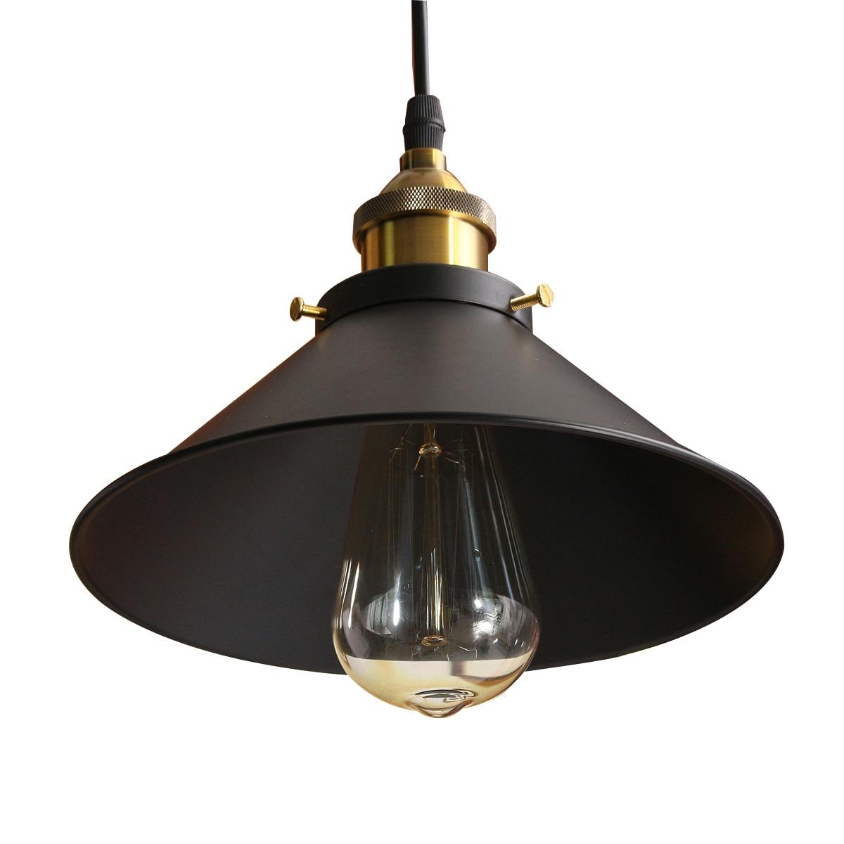 cheapest Vintage Iron Wood Grain Shop Pendant Lamp E27 Lamp Holder 110-240V Foyer Coffee House Dining Hall Indoor Bedroom Lightings