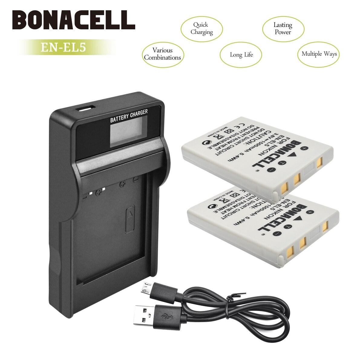 Bonacell 1500 mAh EN-EL5 de batería de la cámara Digital LCD + cargador para Nikon Coolpix P4 P80 P90 P100 P500 P510 P520 p530 P5000 P5100 L10