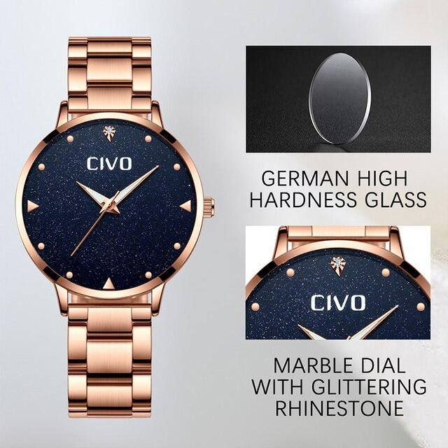 CIVO Luxury Gold Ladies Watches Women Watches Clock Stainless Steel Women'S Bracelet Watches Relogio Feminino Montre Femme 4