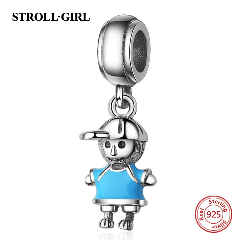 Strollgirl new arrival 100% 925 Sterling Silver Couple Little Girl & Boy Pendant Charm fit Girls Charm Bracelet DIY Jewelry 2018