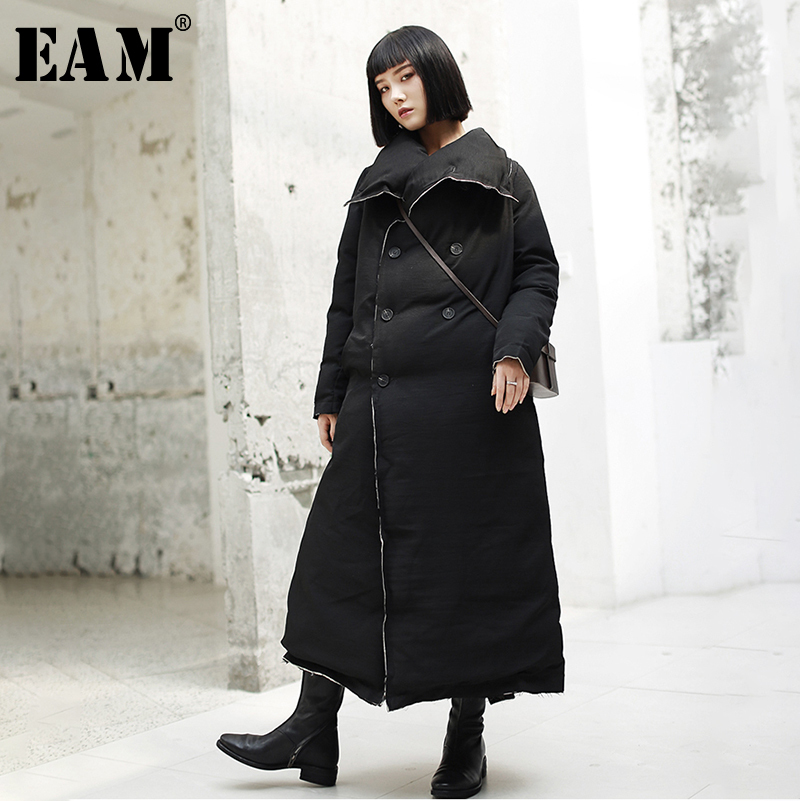 [EAM] 2019 New Spring Lapel Long Sleeve Black Burr Loose Cotton-padded Long Thickening Coat Women   Parkas   Fashion JK101