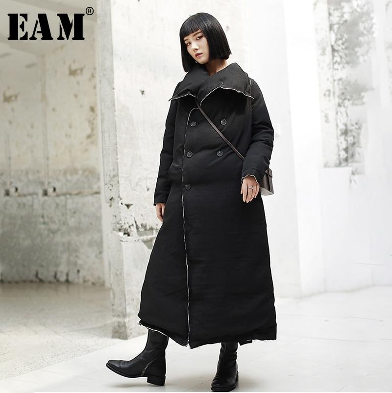 [EAM] 2019 New Spring Lapel Long Sleeve Black Burr Loose Cotton-padded Long Thickening Coat Women Parkas Fashion JK101