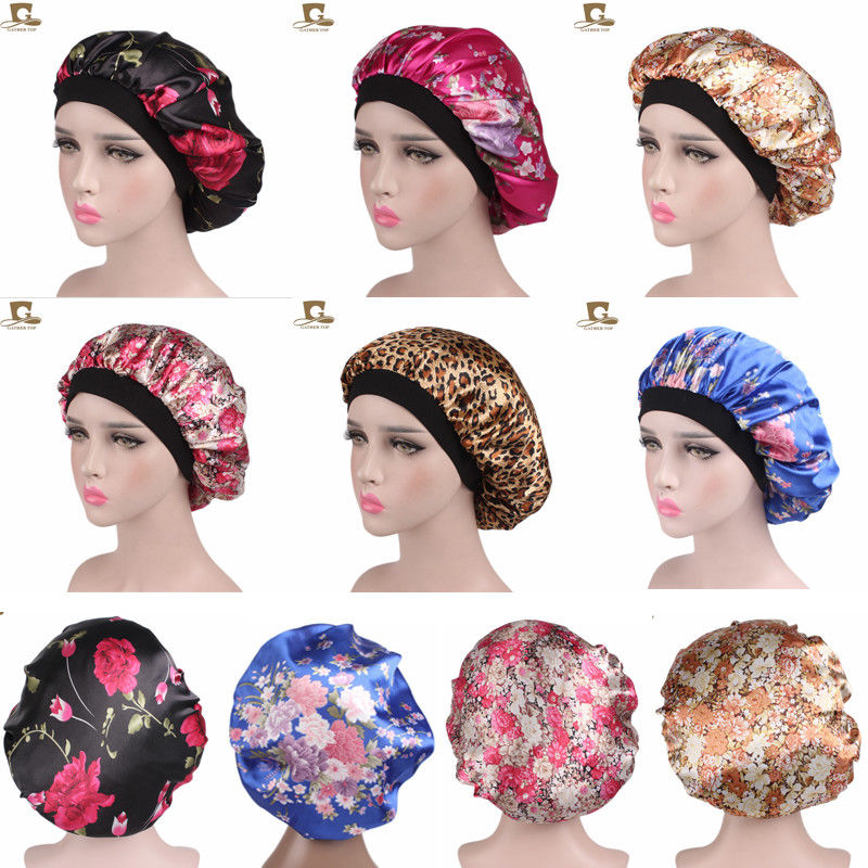Women Wide Band Satin Bonnet Soft Satin Night Sleep Hat Hair Cap Ladies Turban