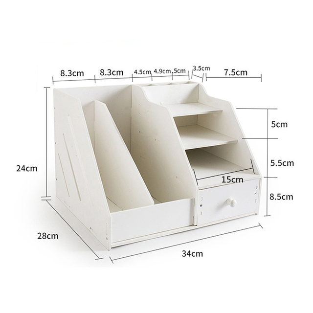 Multi Use Desktop Stationery Organizer Box With Document File Book Stand and Pen Holder Drawer Rack for Memo Note Pad 5