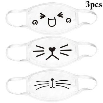 2019 Fashion 3pcs White Anti-Dust Cotton Cute Bear Anime Cartoon Mouth Mask Kpop Mouth Muffle Face Mouth Masks Women Men