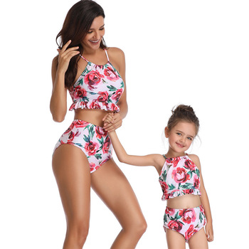 Mother Daughter Swimsuits 2019 Family Matching Floral Print Swimwear Sets Mom And Daughter Beach Sexy Bikini Clothes Holiday Юбка