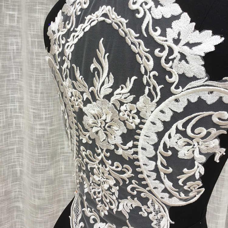 Requintado de Alta Qualidade de Casamento Vestido De Tule de Volta Rendas Acessórios Diy Estilo Tribunal Europeu Flor Vara Modelo Show de Tapete Vermelho